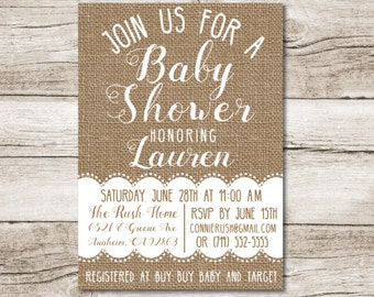 Burlap Baby Shower Invitation   Burlap And Lace   5 X 7