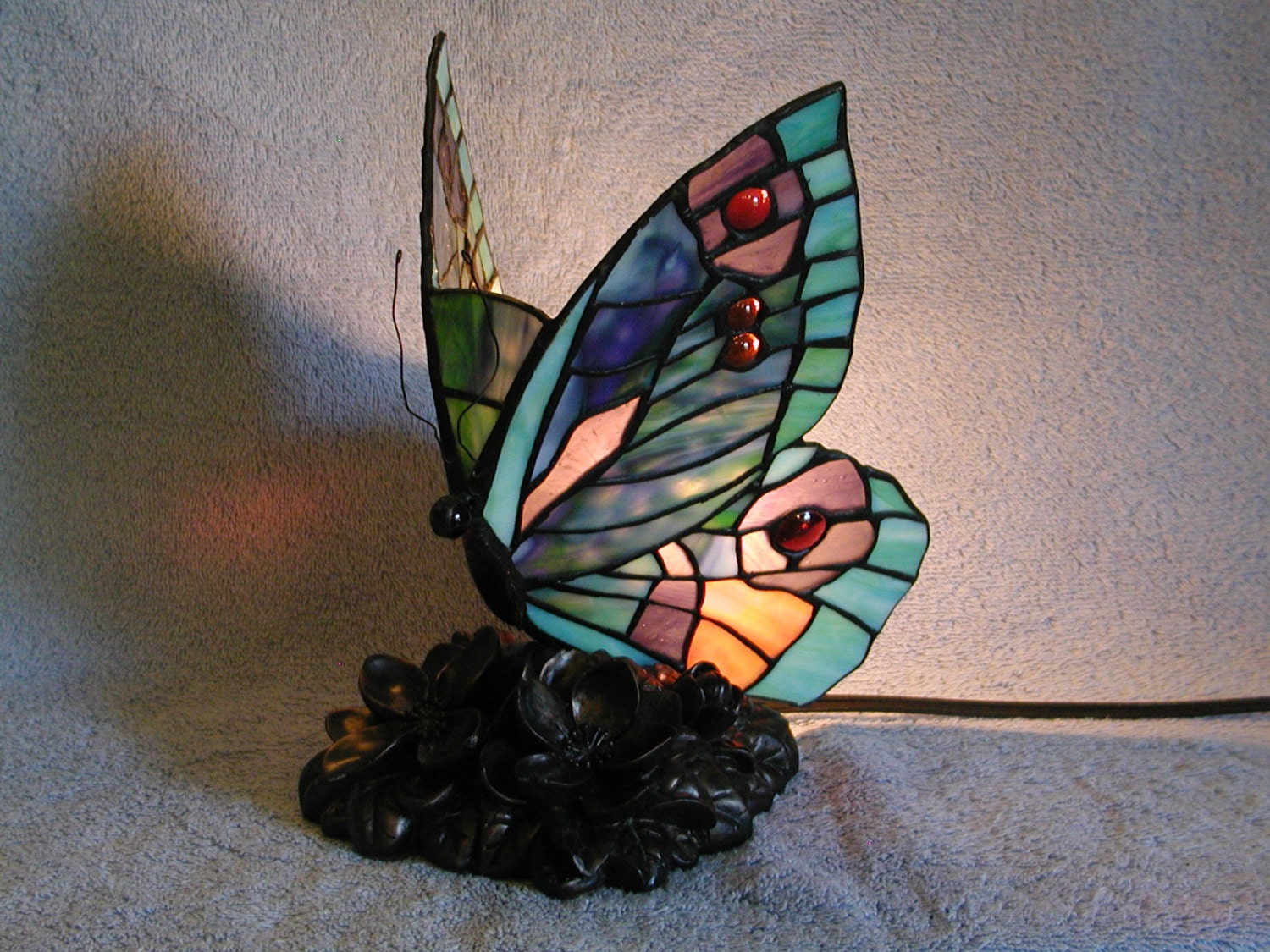 Accent Lamp Stained Glass Butterfly Nightlight