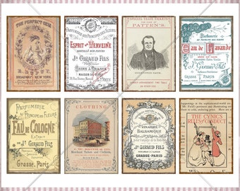 Digital Collage Sheet - Vintage & Antique Ads ATC cards -  2.5x3.5 Pocket Letter, ATC, Cards - Printable Distressed Cards - PDF Printable