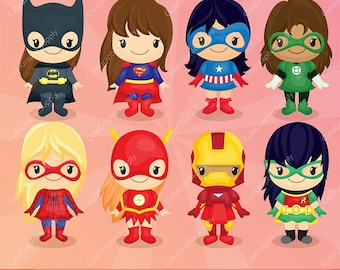 Superhero girls clipart, Superhero clipart, girls clipart, comic clipart, super hero clipart, 300ppi - INSTANT DOWNLOAD- -LN068-