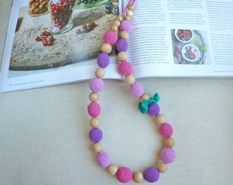 "Teething necklace/ Nursing necklace/ Breastfeeding necklace / Babywearing necklace ""Berries' mix"""