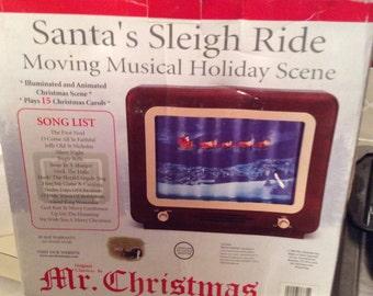 Vintage Mr Christmas Santas Sleigh Ride 15 Carols Illuminated and Animated