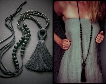 FAR NORTH large tassel necklace / Glass / Onyx / Black Horn / Black Genuine Leather /  XXL Necklace