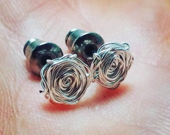FREE SHIPPING Wire Wrap Rose Earrings