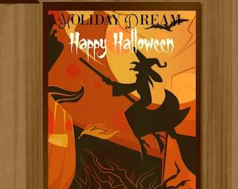 Happy Halloween Witch Print, Digital Happy Halloween Prints, Halloween Posters, Halloween Art, HD#007