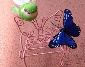 Mini bird and butterfly on a bench
