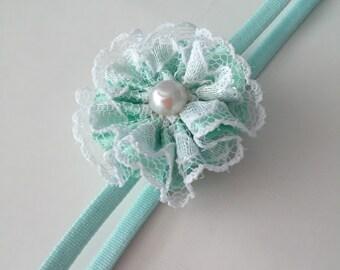 Aqua Mint petite flower skinny elastic headband