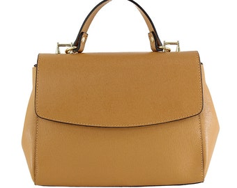 Woman handbag shoulder bag pure Saffiano leather Made in italy 80034 Tan