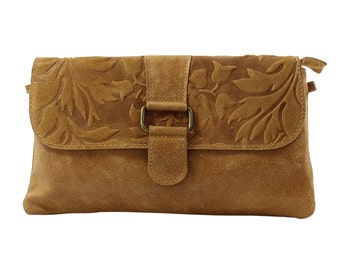 Woman's clutch, shoulder bag, handbag in genuine leather Made in Italy 10023 Tan