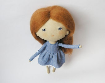 OOAK art doll, blue-eyed doll, kawaii cloth doll, nursery decor, gift for girl