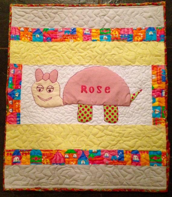 Handmade Baby Gifts Ireland : Baby girl turtoise quilt handmade by sewinlovers on etsy