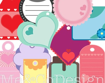 Tags Clipart, Fun Pretty Clipart, Retro, heart Instant Download, Personal and Commercial Use Clipart, Digital Clip Art