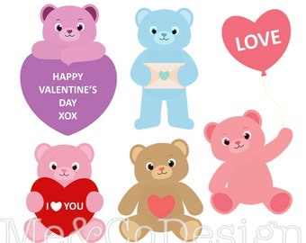 Valentine Teddy Bears Clipart, Fun Cute Clipart, Romantic, Instant Download, Personal and Commercial Use Clipart, Digital Clip Art