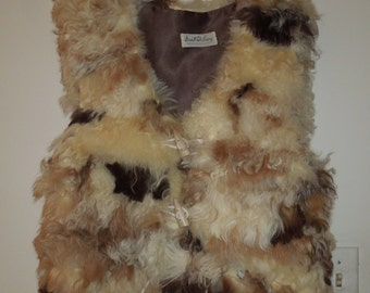 Women's Vintage Genuine Curly Lamb Vest Small/Medium Natural/Earthtones