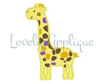 Colourful Giraffe Applique Design - Instant Download
