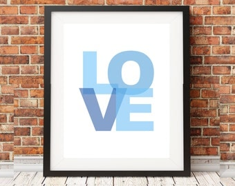 Love Blue Block Letter Print Boys Room Nursery