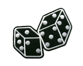 Black Dice Embroidered Applique Iron on Patch