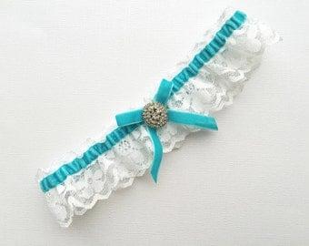 Turquoise Lace Wedding Garter, Bridal Garter, White,  Turquoise garter.