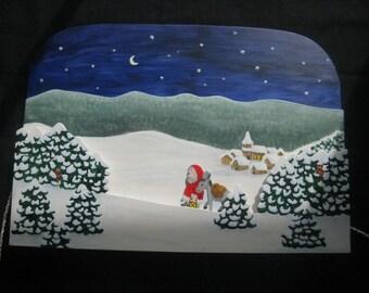 Santa Claus, portable wood picture, Christmas, advent, toys, Nicholas