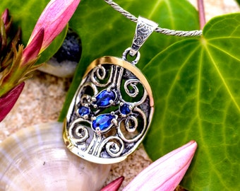 Silver and Gold Pendant, Blue Zircon Pendant, Sterling Silver 925, 9 Karat Gold, December Birthstone, Winter Necklace, Handmade
