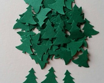 120 Green Christmas pine tree shaped hand punched confetti .table decoration, crafts, scrapbooking,cardmaking