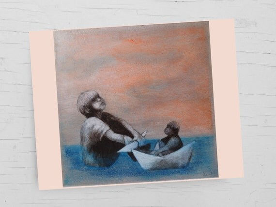 Birthday card for sailors, fathers day, paper boats, card ship, maritime greeting card ship, card sea, greeting cards art, painting,card son