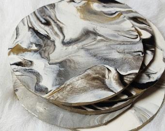 Marbled Clay Coaster Set
