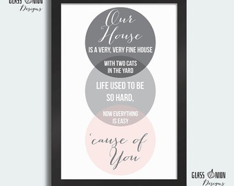 "Crosby, Stills, & Nash (CSN) - ""Our House"" Lyric Art Print (A4 Size) Instant Download"