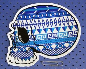 Aztec Skull Bumper Sticker