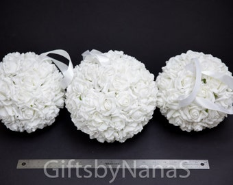 White flower ball, white pomander ball, flower girl rose ball, kissing ball, white roses flower ball, foam roses, real touch flower ball