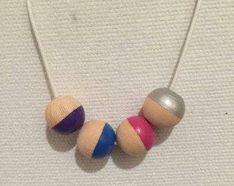 Girls necklace // pink purple silver & blue
