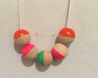 Girls neon hand painted wooden bead necklace // neon pink orange and green
