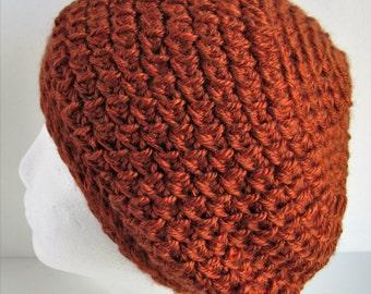 Crochet Slouchy Hat, Orange Crochet Hat, Womens Winter Hat, Crochet Winter Hat, Crochet Slouchy Beanie