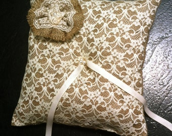 Ring Bearer Pillow - Hessian and Cream Lace