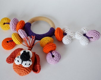 Crochet teether Funny Dog/ Rattle/ Crochet teething toy/ Wooden teether/ Ecofriendly baby toys/ Amigurumi Dog