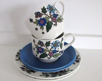 Vintage Midwinter Trio/Tea Set x 2 Alpine Blue Jessie Tait 1960s