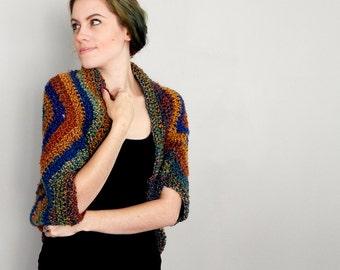 Autumn Earth Tones Crochet Shrug