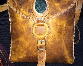 Beautiful Guatemalan Hand-stitched Leather Purse