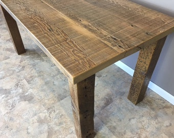 Reclaimed Urban Wood Dining Table-Wooden Leg base-All Reclaimed Wood