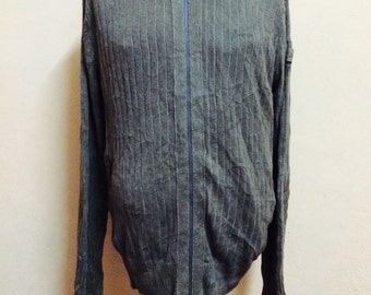 Rare CALVIN KLEIN Jeans Knit Pull Over Cardigan Sweater Militaries Styles