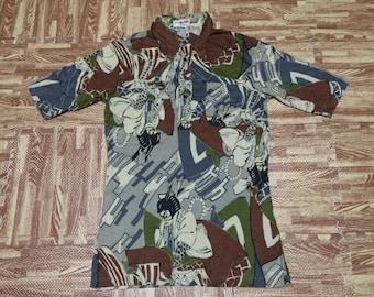 vintage 70s Japanese art print all over samurai sword polo shirt rare