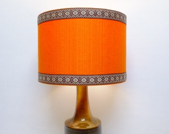 Retro Lampshade, Original Fabric, 30cm Drum, 60s/70s Orange, Brown, Trim, Vintage
