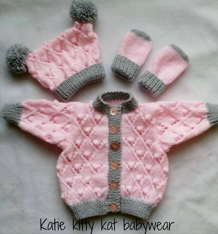 Toddler Girl Cardigan Knitting Pattern : Hand knitted cardigan hat and mittens set Baby girl pink