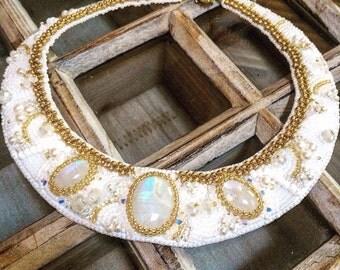 Wedding Jewelry, Bridal Jewelry, Statement Necklace, OOAK, Bead Embroidery, Beaded Jewelry, Handmade Jewelry