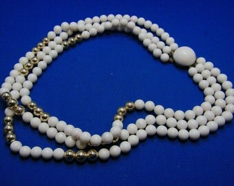 Vintage Classic Multi Strand White And Gold Bead Necklace Japan