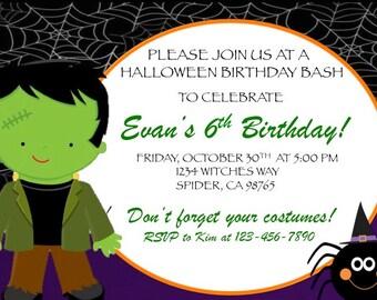 Halloween Party Invitation, kids halloween birthday invitation, frankenstein halloween party invitation, halloween birthday