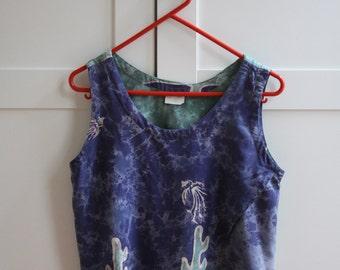 Vintage Batik Green & Blue Ladies Tank Top