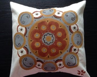 Hand painted Fortune Canvas Pillow Cover 16x16 15x15 Cushion Cover with Cherry Blossom Made in Hawaii