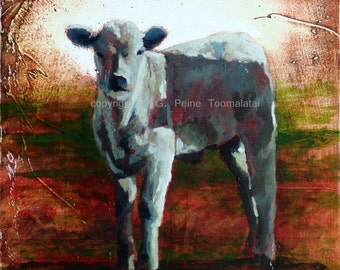 Cow painting Cow oil painting Cow original oil painting on wood panel Cow decor Toomalatau fine art Cow art White calf White cow painting