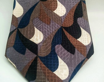 """70's Vintage Tie/100% Italian Silk/Via Manzoni Tie/Made in USA/Green and Blue Tie/57""""Long/4""""Wide/*FREE Gift Wrap*"""